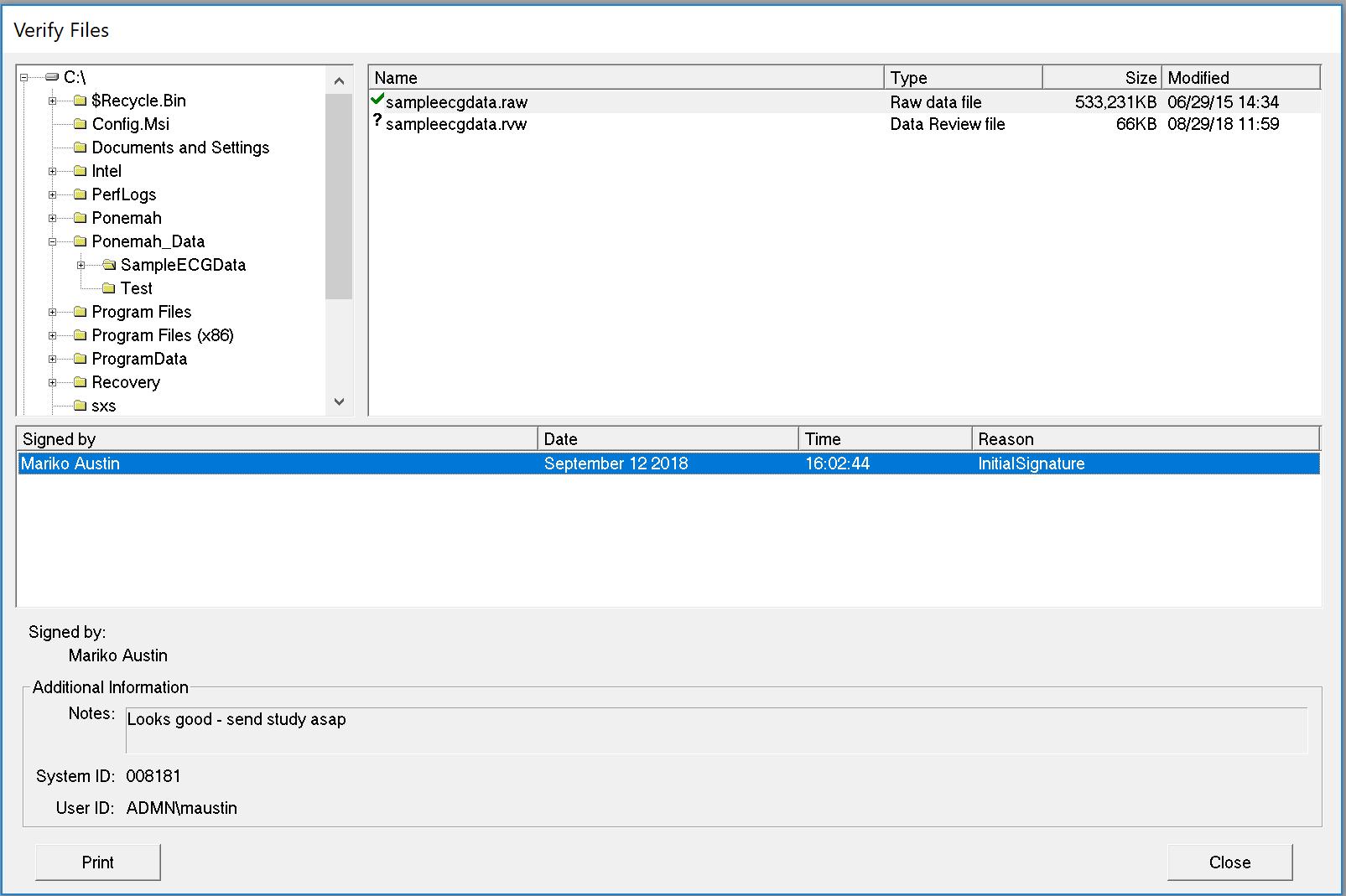 Data Security Option For Ponemah V530 Program 530 Verify Files